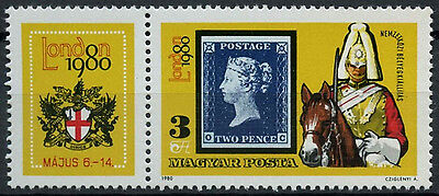 Hungary 1980 SG#3319 London Stamp Exhibition MNH + Label #D3296
