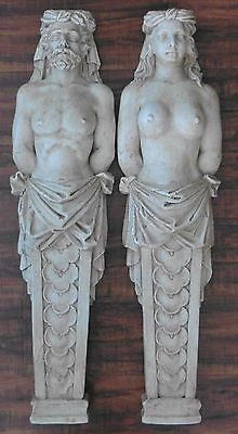 PAIR Plaster Nude Topless Male Female Wall Sculpture Art Pediments Architectural
