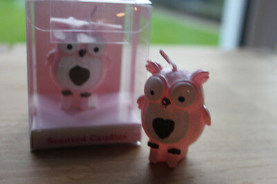 2 x Pink Owl Candles  - Christening Party / Baby Shower Baby Girl Gift