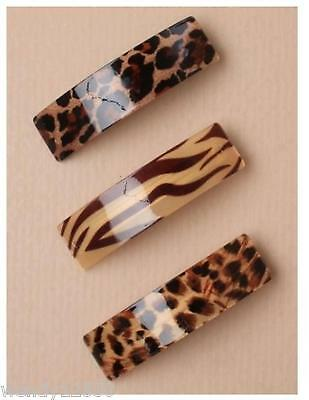 PACK OF 3 ANIMAL PRINT ACRYLIC 9cm RECTANGLE BARRETTE CLIPS - SP-5833 PK3