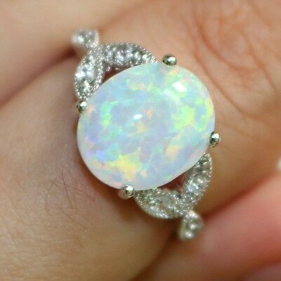Size 4-12 Sterling Silver Australian Oval Fire Opal Ring Wedding Propose Cluster