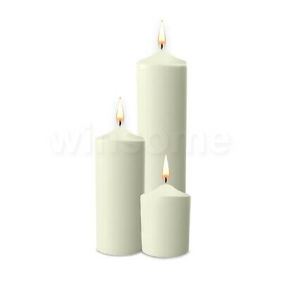 Unscented Thick Round White Classic Church Pillar Table Candles Long Burn Time