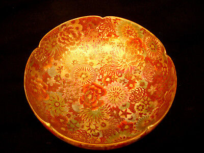 "6 1/8"" D MARKED Satsuma JAPANESE MEIJI THOUSAND FLOWER SATSUMA SCALLOPED BOWL"