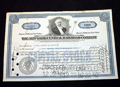 Canceled Stock Certificate The New York Central Railroad Company 1939
