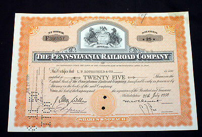 Canceled Stock Certificate The Pennsylvania Railroad Company 1950