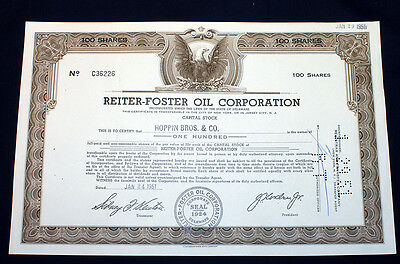 Canceled Stock Certificate Reiter Foster Oil Corporation 1951