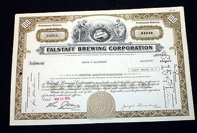 Canceled Stock Certificate Falstaff Brewing Corporation Brewery Beer 1970