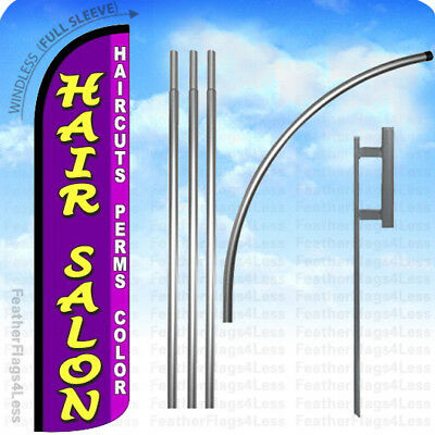 WINDLESS Swooper Feather Sign Flag 15' KIT - HAIR SALON HAIRCUTS PERMS COLOR pz