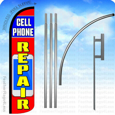 WINDLESS Swooper Feather Banner Sign Flag 15' KIT - CELL PHONE REPAIR rz