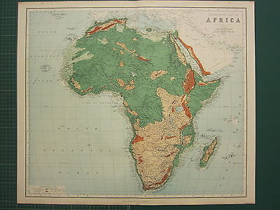 1902 Large Antique Map ~ Africa Orographical Land Heights Egypt Sahara