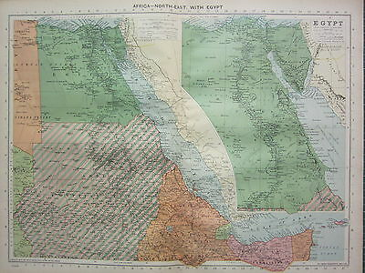 1940 MAP ~ AFRICA NORTH-EAST with EGYPT ~ CAIRO NILE DELTA TIGRE