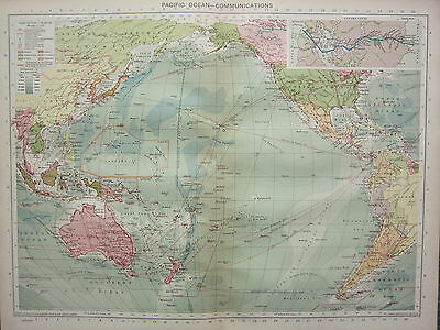 1940 Map ~ Pacific Ocean Communications Routes Panama Canal Australia America