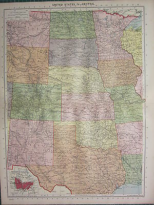 1940 Map ~ United States Central ~ Colorado Kansas Dakota Nebraska Wyoming