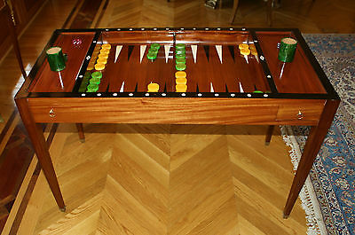 Magnificent French 19C Mahogany Backgammon, Game Table