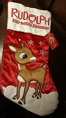 "Nwt Dandee Rudolph Reindeer Large Plush Christmas Stocking 17"" Red/wht Applique"