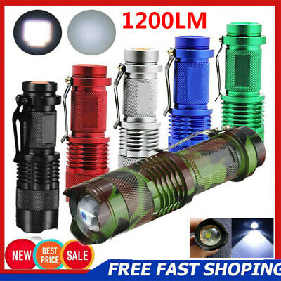 1200LM Mini Tactical 7W CREE Q5 LED Zoomable Flashlight Torch 14500 Lamp Light