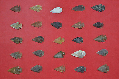 *** 25 PC Lot Flint Arrowhead OH Collection Project Spear Points Knife Blade ***