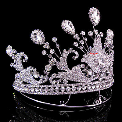 13cm High Large Full Crystal Drip Wedding Bridal Party Pageant Prom Tiara Crown