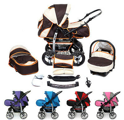 Baby Pram Buggy Pushchair Stroller Camel Reversible Carrycot Travel System 3in1