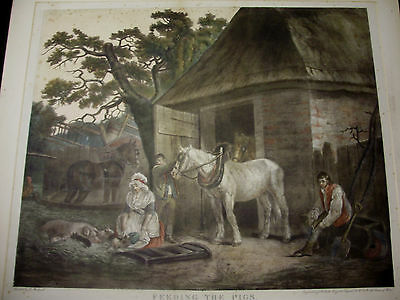 1801 Painted Engraving FEEDING THE PIGS - GEORGE MORLAND - Large