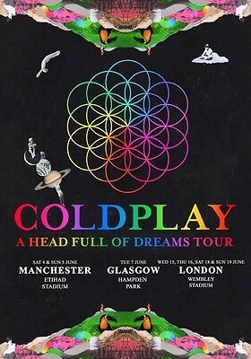COLDPLAY A Head Full Of Dreams 2016 UK Tour PHOTO Print POSTER New Stadium 009