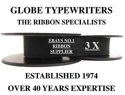 3 x 'IMPERIAL 200' *BLACK* TOP QUALITY *10 METRE* TYPEWRITER RIBBONS + *EYELETS*
