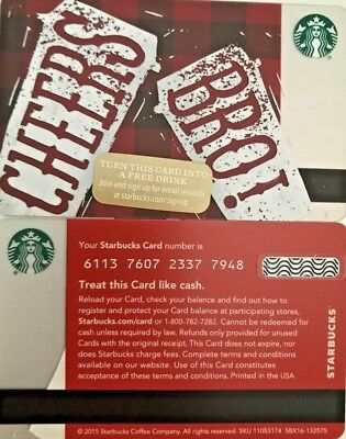 """New 2015 Starbucks """"cheers Bro!"""" Gift Card Limited Edition No Value Mint"""