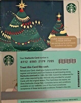 """New 2015 Starbucks """"christmas Tree"""" Gift Card Limited Edition No Value Mint"""