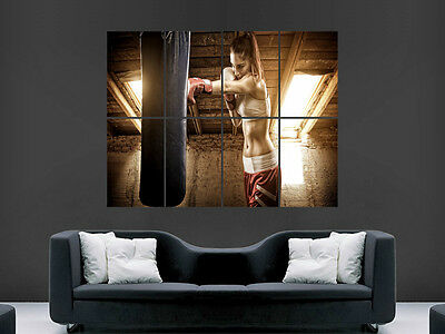 Sexy Girl Hot Gym Fighting Boxing  Fitness Wall Poster Art Picture Print Huge