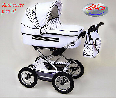 Pram pushchair stroller baby buggy retro Fanari 3 or 2in1 white and black dots