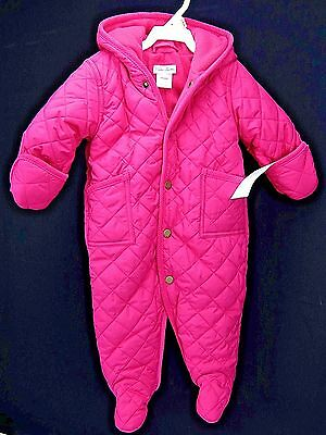 Polo Ralph Lauren Girl Snowsuit Quilted Pink Bunting Hooded Footed Size 6 Month