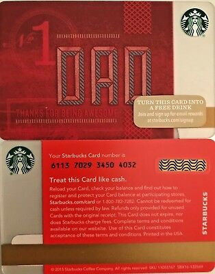 "2015 Starbucks ""dad"" Gift Card No Value Mint"