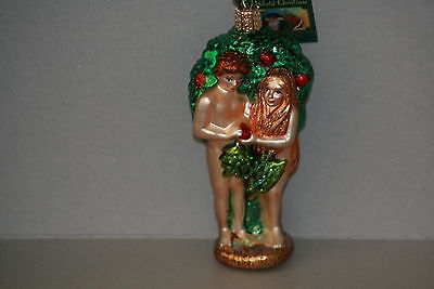Adam and Eve Old World Christmas glass ornament