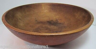 Antique Wooden Bowl Orig Pumpkin Salmon Primitive Old Treen Patina Wear fr Usage