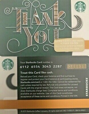 """2015 Starbucks """"thank You"""" Gift Card Lmt Edition No Value Mint"""