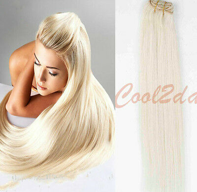 #60 Blonde  Full Head  100% Virgin Hair Remy Clips In Human Real Hair Extensions