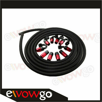 AN8 -8AN NYLON BRAIDED OIL/FUEL Hose + Fitting Hose End Adaptor Red And Black