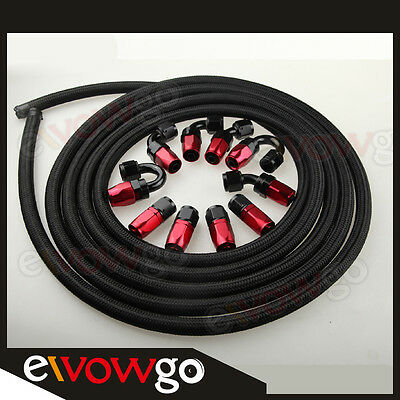 AN6 -6AN NYLON BRAIDED OIL/FUEL Hose + Fitting Hose End Adaptor Red And Black