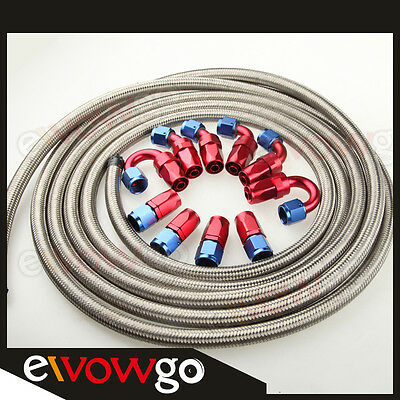 AN10 Stainless Steel Braided Oil/Fuel Hose + Fitting Hose End Adaptor Kit