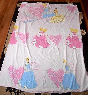 Walt Disney - Princess - SINGLE BED DUVET COVER CASE & PILLOW CASE - (FT8)