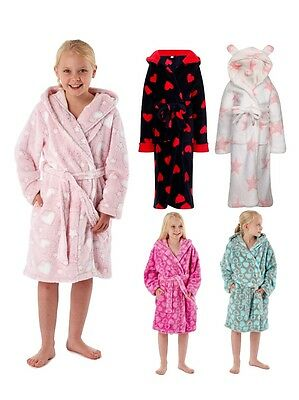 Kids Girls Luxury Novelty Fleece Dressing Gown Bath Robe Xmas Gift Size 3-13 Y