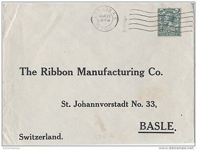 1930 George V 4D on Cover to Basle London FS Cancel DB1025
