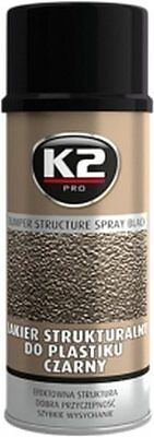 K2 | Black Bumper Structure Aerosol Spray For High Quality Durable Finish| 400ml
