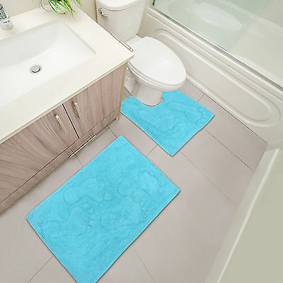 Soft & Plush Feet Bathroom Mats - 2 Piece Washable Bath & Pedestal Mat - Blue