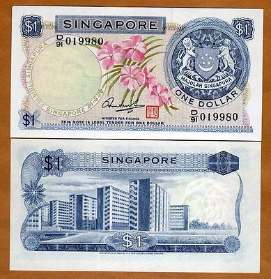 Singapore, 1 dollar, ND (1972), Pick 1 (1d), aUNC > Flowers, First Issue