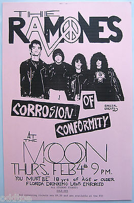 THE RAMONES Vintage Poster 1988 concert with CORROSION OF CONFORMITY Tallahassee