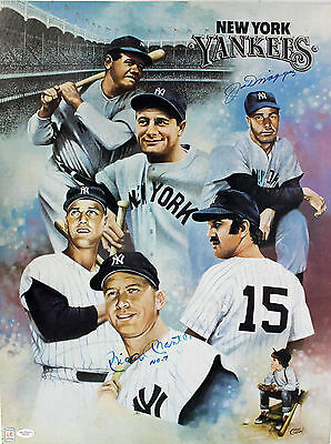 "Yankees Mickey Mantle ""No 7"" & Joe Dimaggio Signed 18x24 Litho Poster JSA B22466"