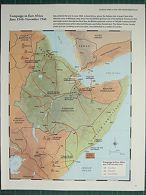 Ww2 Wwii Map ~ Campaign In East Africa June 1940 - Nov 1941 Italian Attacks