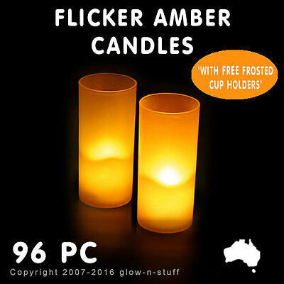 96 X Led Candles Amber - Flameless Votive Candles Frosted Candle Holders Party