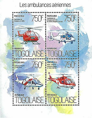 Togo 2013 Stamp, TG13002A The Aerial Ambulances, Aviation, Helicopter, Transport